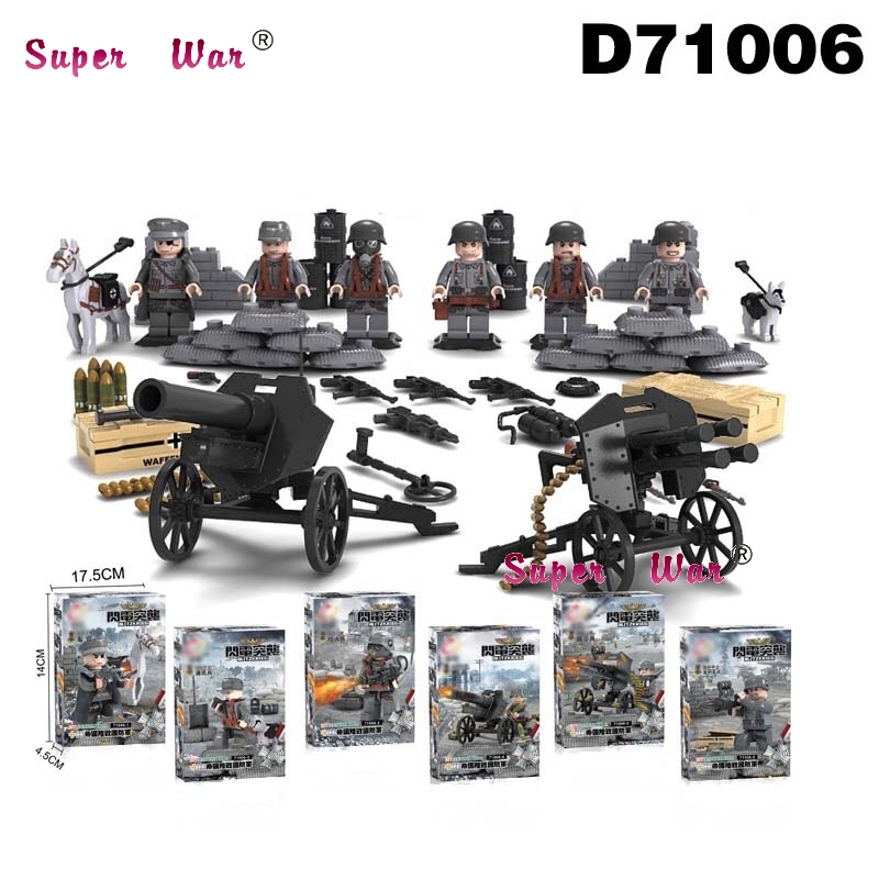 6pcs Blitzkrieg Empire World War 2 WW2 Military fire weapons building blocks model bricks Baby toys for children