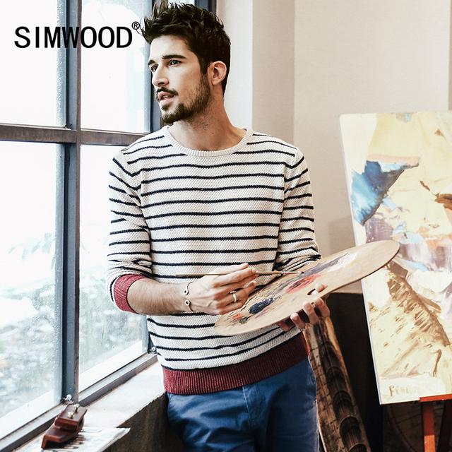 Simwood marca 2016 nova outono inverno causal listrado camisola dos homens slim fit 100% algodão kintwear my2021