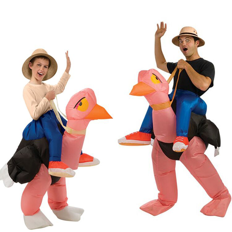 Holiday Carnival Costume Unisex Adult Kids Ostrich Inflatable Costume Funny Party Dress Cosplay Costume Performance Costume Prop