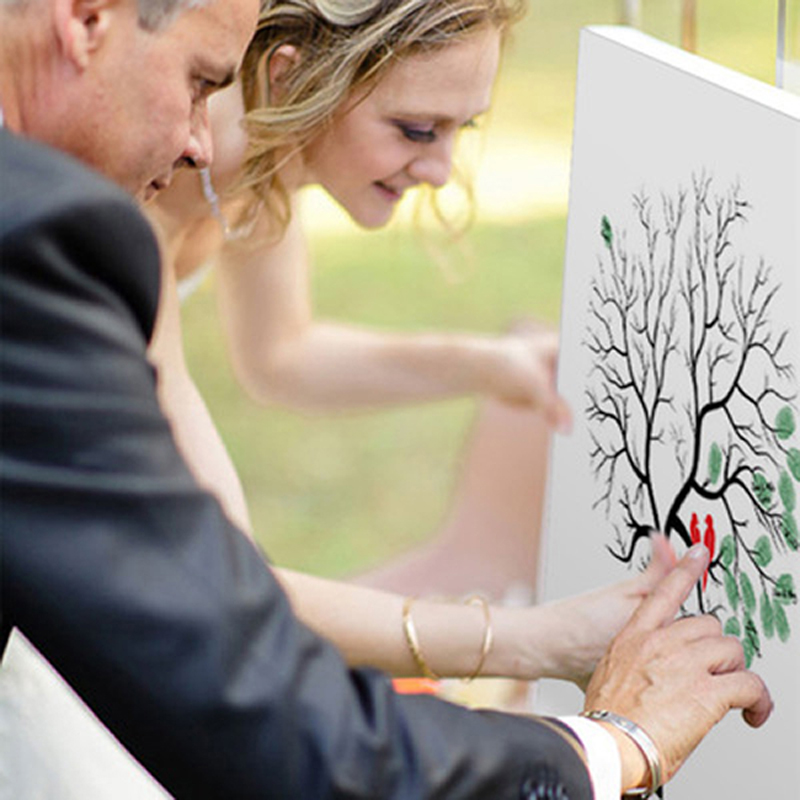 Hot Sale Personalized Canvas Fingerprint Painting Wedding Tree Guest Book Wedding Gifts DIY Comunion Birthday Party Decorations
