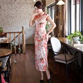 Shanghai Story Faux Silk Long Cheongsams qipao dress chinese traditional dress Vintage national trend oriental dress S-2XL
