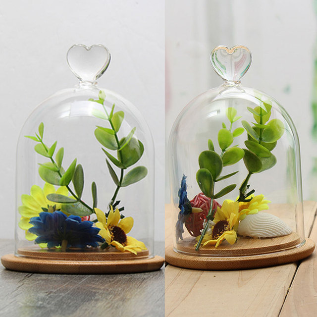 Round Glass Vases Cover Diy Crystal Table Flower Glass Cover Vase