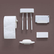 Ecofresh bathroom five-piece suit 3M hook soap box toothbrush paper towel holder mobile phone