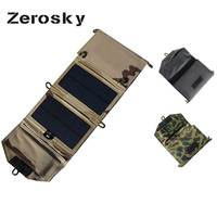 Zerosky 7W Portable Solar Panel Charger Foldable Solar Cell Battery Charger USB Output For IPhone Samsung