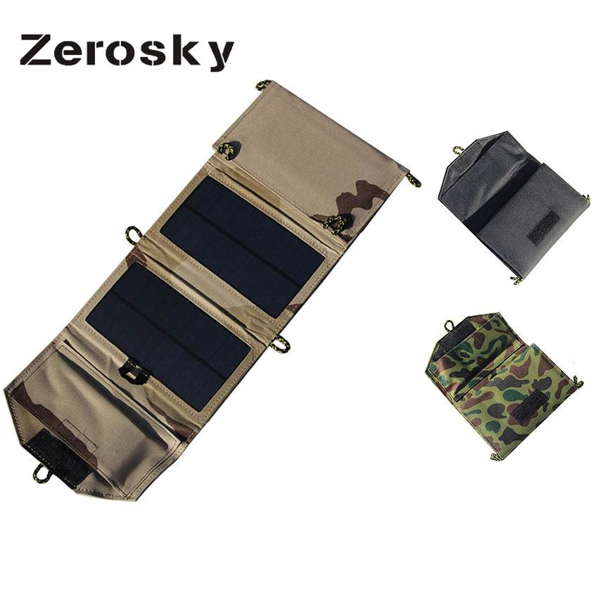 Zerosky 7W Portable Solar Panel Charger Foldable Solar Cell Battery Charger USB Output for iPhone Samsung PSP 5V Camera