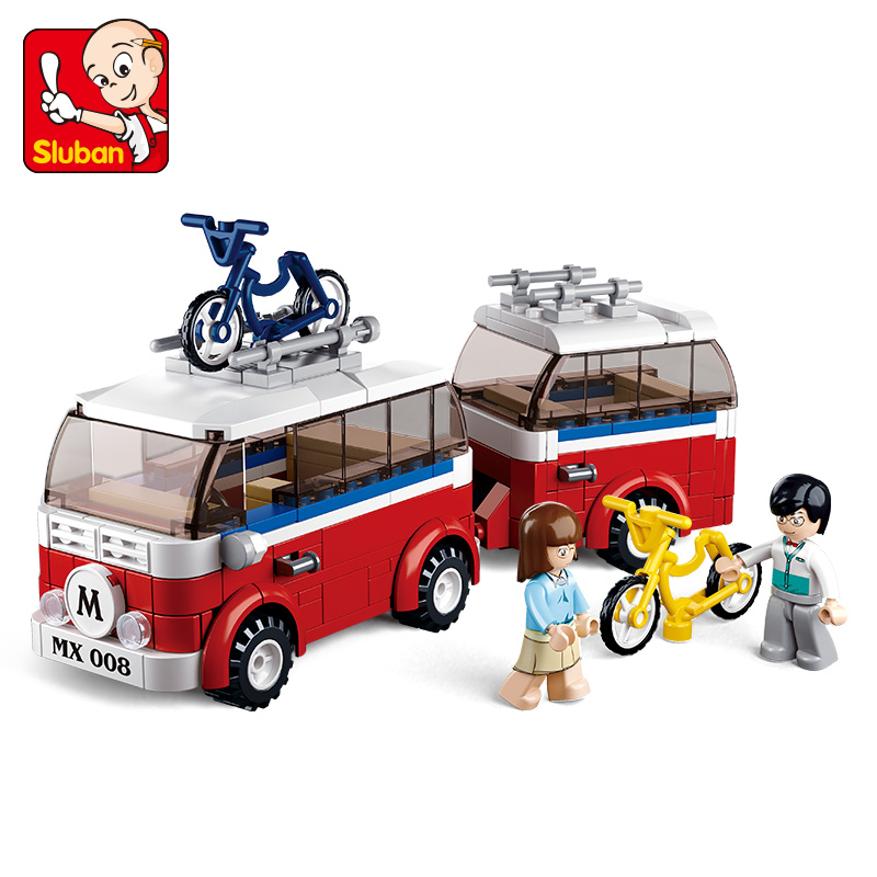 SLUBAN 324Pcs Motorhomes SimCity My Building Blocks Bricks Toys Forge Mini World minis Kids Educational Toys Christmas Gift