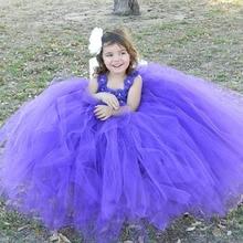 Purple Flower Girl Dress Tulle Girls Wedding Dress Kids Toddler Girls Baby Princess Flower Party Christening Birthday Tutu Dress