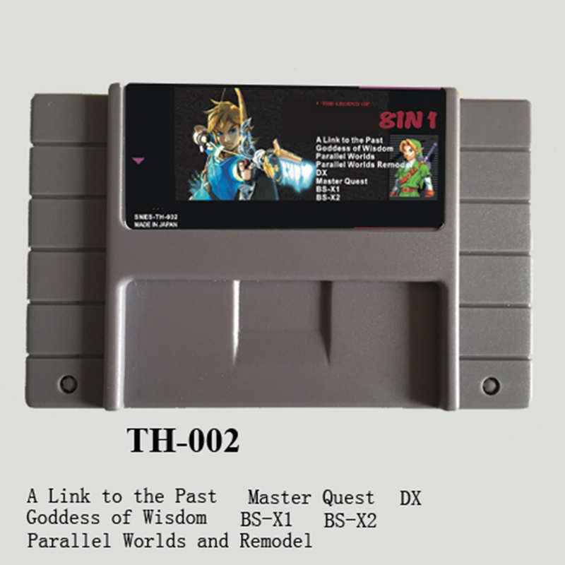 Zeldaed 8 In 1 Game Collection 16 Bit Big Gray Game Card For NTSC USA Game Console image