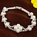 Elegant Simulated Pearl Bracelets for Women Full Crystal Jewelry Wedding Accessories Leaf Fashion Pulseira Feminina