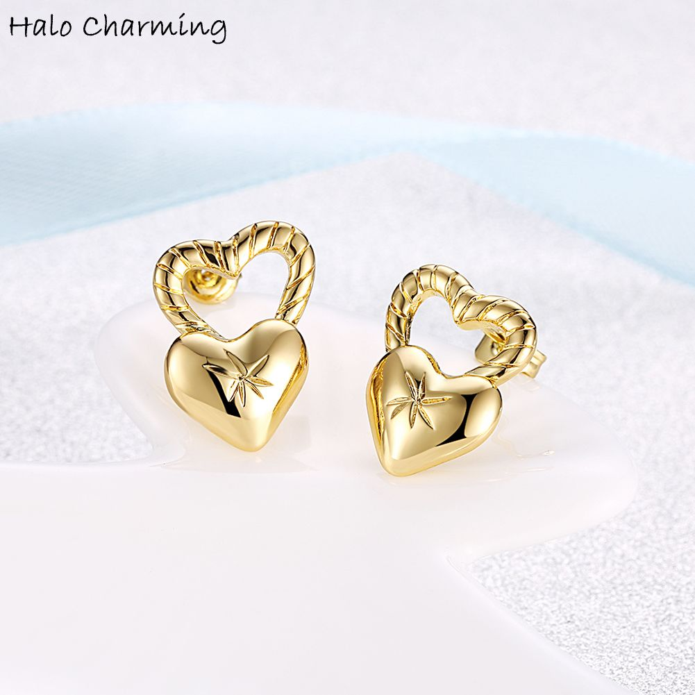 heart gold earrings combo shaped ayesha shop studs metallic accessories