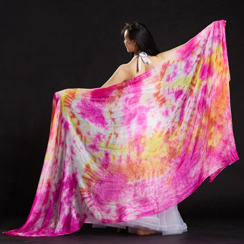 Belly Dance Shawl Women Belly Dance Silk Veil Tie-dyed Bandhnu Bellydance Shawl Belly Dance Accessories 250*110cm Veil