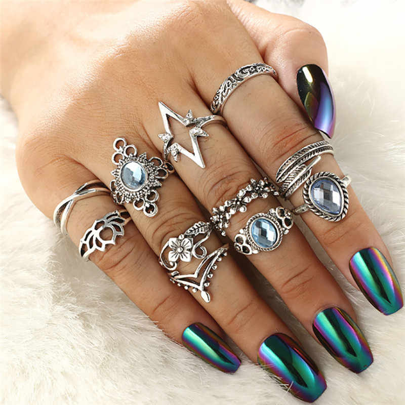 Bague Femme Vintage Rings for Women Boho Geometric Flower Crystal Knuckle Ring Set Bohemian Midi Finger Jewelry Silver Color