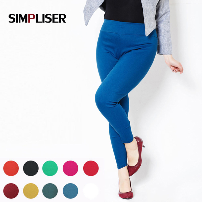 High Waist Women Pencil Bukser 2019 Candy Color Leggings PLus Størrelse 5XL 6XL Ladies Casual Bukser Hvid Sort Rød Femme Pantalon