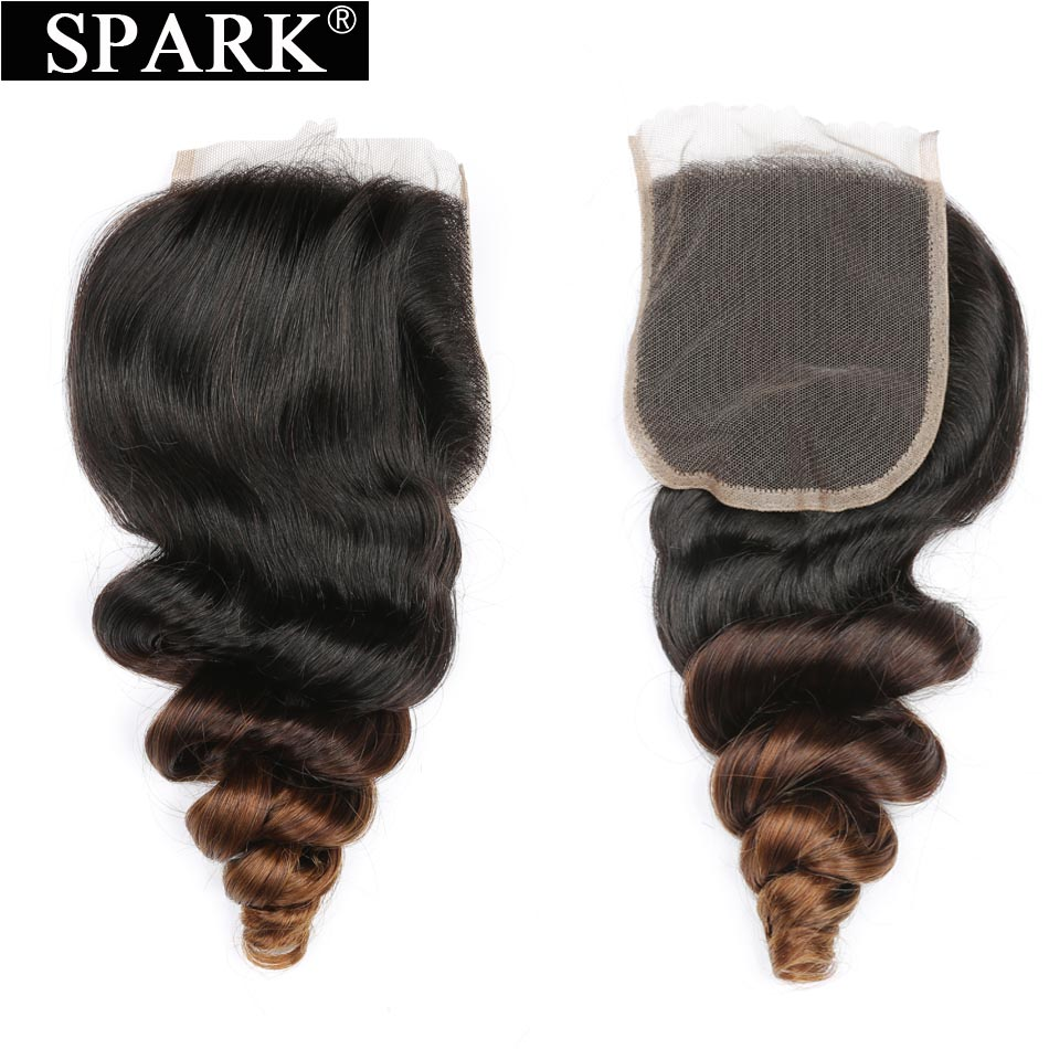 Spark Brazilian Loose Wave Closure Remy Human Hair Ombre Color 4x4 Free Part Lace Closure 1B/4/30 Medium Brown 130% density