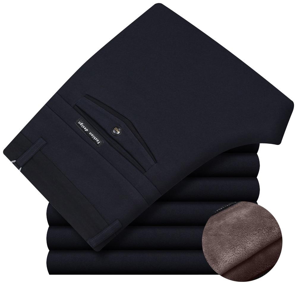 Зимние с бархатом утолщенные мужские прямые брюки трикотажные высокие эластичные брюки среднего возраста деловые Повседневные Брюки флис...