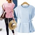 3xl plus tamaño grande tops blusas feminina primavera verano estilo 2016 corea mujeres de la manera camisetas rosa azul dulce ol camisetas A0716