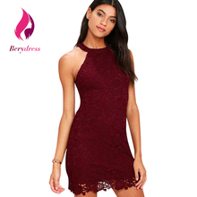 Womens Burgundy Party Summer Dress