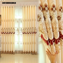 Curtains for Living Dining Room Bedroom European Embroidery Screens Yarn Study