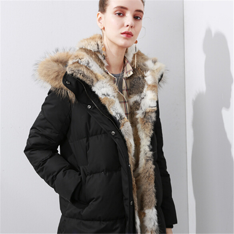 women down warm long gift coat jacket parka zipper fashion new winter outerwear rabbit fur collar new plus size thick мозаичный декор atlas concorde marvel pro cremo delicato mosaic 30 5x30 5