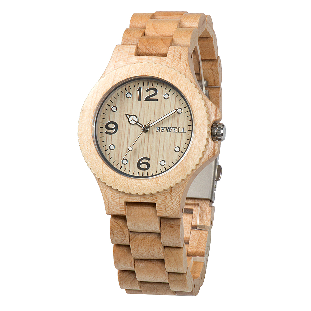 BEWELL Watch Unisex Wood-Strap Luminous-Pointers Women Round for Lightweight Vintage