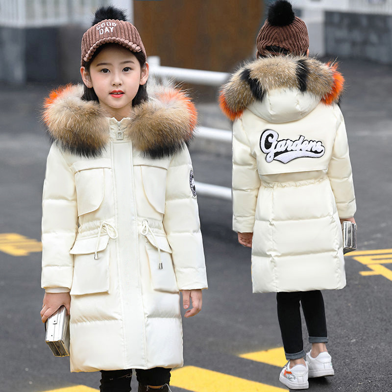 -30 Degrees Children Down Winter Jacket Girls Thick Down Jackets Winter Coats Kids Fur Hooded Warm Parkas Girl Winter Clothing 2018 new girl s down coat winter outwear warm hooded parkas big fur children thick clothing long coats toddler girls jacket