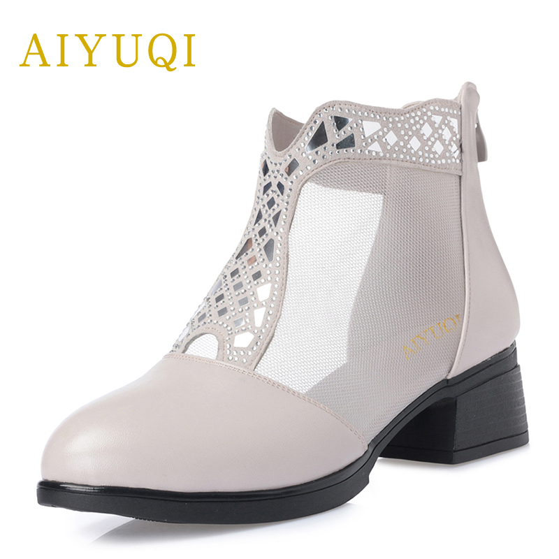 Big size 41#42#43#women shoe 2018 new women's genuine leather sandals hollow fashion mesh middle-aged shoes female aiyuqi 2018 new genuine leather women sandals summer flat middle aged mother sandals plus size 41 42 43 casual shoes female