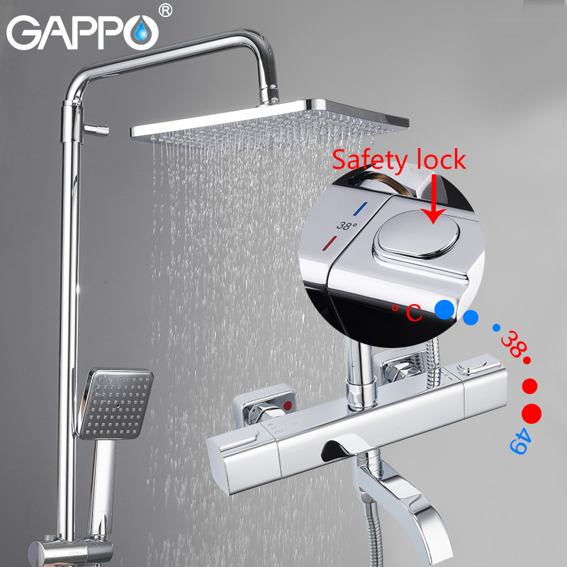 GAPPO Shower-Faucets Mixer Thermostatic Wall-Mounted Bathroom Rainfall