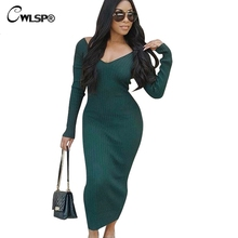 CWLSP 2018 Autumn Winter Long Ribbed V Neck Women Dress Backless Skinny Elegant Party Female Clothes QL3422