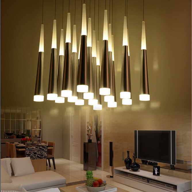 цена на modern brief acryl led 1/3/5heads pendant lamp for dining room living room hotel hall indoor lighting 1897
