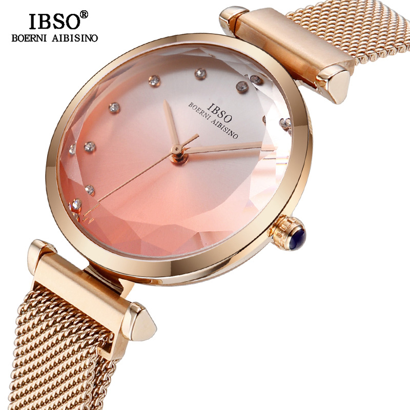 IBSO Brand Creative Cut Glass Women Wrist Watches Magnet Buckle Design Fashion Ladies Quartz Watch Women Montre Femme 2018 Clock футболка с полной запечаткой женская printio персиковое дерево в цвету ван гог