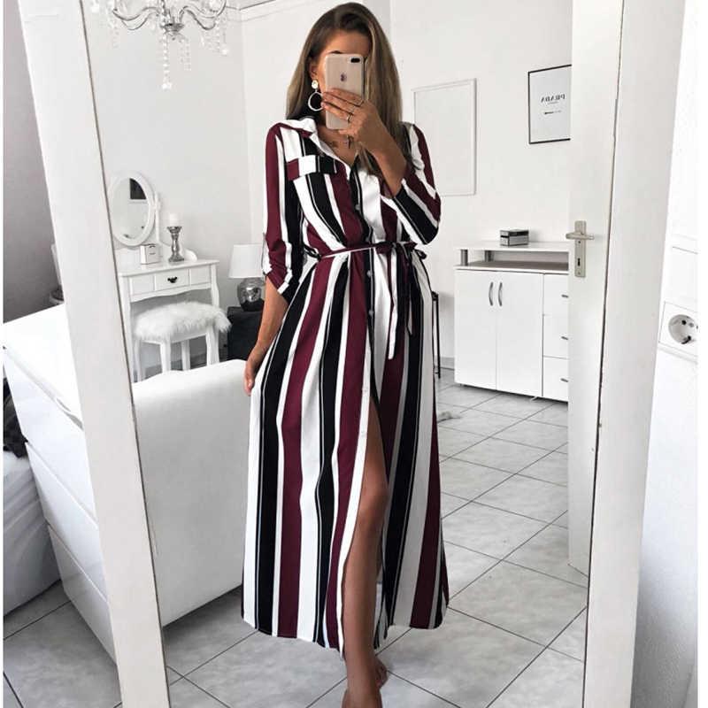 Hirigin Макси платье в полоску 2019 офисное женское длинное платье с отложным воротником и пуговицами женское осенне-летнее платье с длинными рукавами