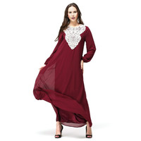 Kaftan Jilbab Islamic Muslim Abaya Dresses Chiffon Abaya Robe Maxi Long Sleeve Evening Party Dress Maxi