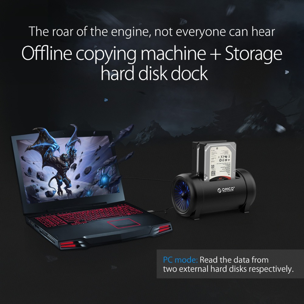 ORICO Two Bay Offline Clone HDD Docking Station 2.5 &3.5 HDD with Cooling Fan and 12V DC 5628US3 HDD Station Power Adapter - 4