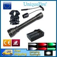 UniqueFire Mini LED Flashlight 1502 XRE/XPG Adjustable Lampe Zoomable 5 Modes Torch+Two Slot Charger+Gun Mount+Rat Tail