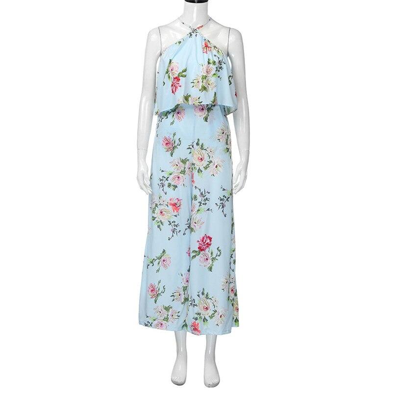 Fashion summer jumpsuit woman 2018 Strap Floral Sleeveless Backless Jumpsuit Long Wide Leg Trousers pantaloni siamesi J28#N (8)
