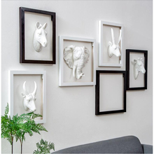 Elephant head sculpture wall hang animal home decoration accessories statue gift Ornament Artwork Craft