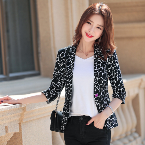 New Spring Autumn Fashion Seven-minutes Sleeved Leisure Women Suit New Style One Button Female Work Wear Slim Temperament Tops