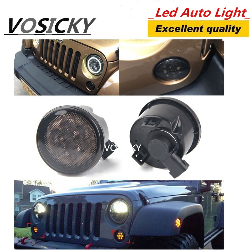 VOSICKY Pair Grill Turn Signal Light For Jeep Wrangler JK 07-15 Kit Front Turn Signal 8 LED Fender Recon Smoked Amber Light Lamp for jeep wrangler jk anti rust hard steel front