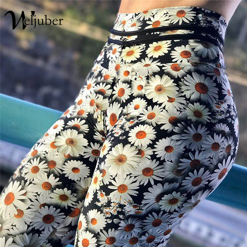 Weljuber Flower Prints Leggings 2018 New Fashion Womens High Waist Push Up Hips Leggings Sexy High Elastic Skinny Trousers