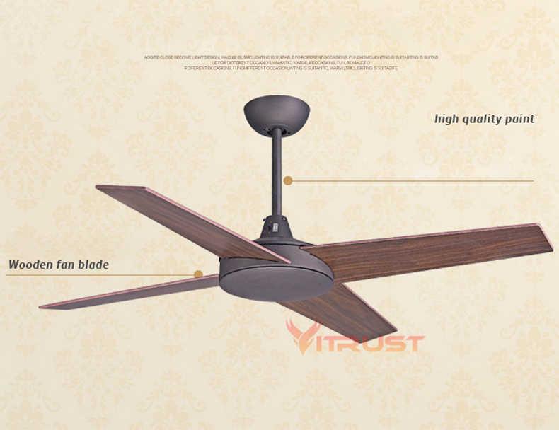 Ventiladores de techo Vintage europeos de 42/48 pulgadas ventiladores de techo industriales de madera sin luz ventilador de techo decorativo para el hogar