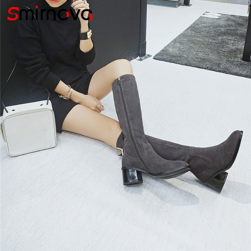 Smirnova thick high heels woman boots 2018 HOT SALE winter cow suede leather boots warm knee