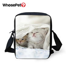 WHOSEPET Cute Cat Prints Cross Body Messenger Bags Women Shoulder Cool Girls School Fashion Lady Mini Flap Postbags