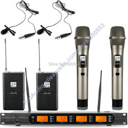 MICWL Audio UHF 4x100 Channel 2 Dynamic Handheld 2 Clip-On Lapel Digital Wireless Microphone Mic System M400-2H2V