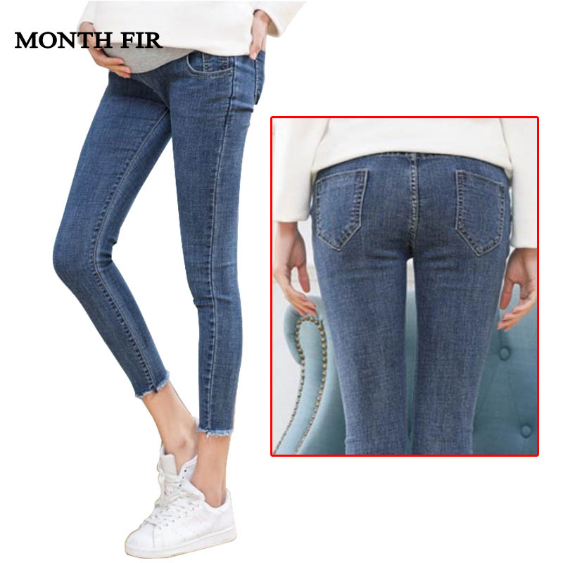 Maternity Clothes Elastic Soft Maternity Jeans Skinny Pregnancy Pants  Lovely Trousers For Pregnant Women Spring Summer Clothing