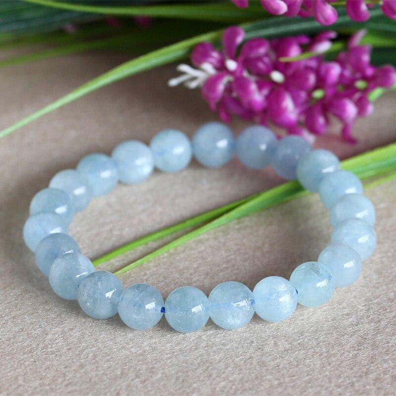 Free shipping Wholesale Natural Genuine Blue Aquamarine Stretch Bracelet Round Beads 6-14mm Beryl Bracelets Fit Jewelry 03581
