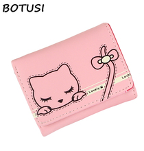 BOTUSI 2018 New Fashion Womens Wallets Mini Short Wallet Cartoon Cat Lovely Gift Photo Slot Leather Purse Credit Card Coin Purse lovely cartoon purse gravity falls anime wallet carteira feminina gift boy girl kawaii dollar price bags leather short wallets