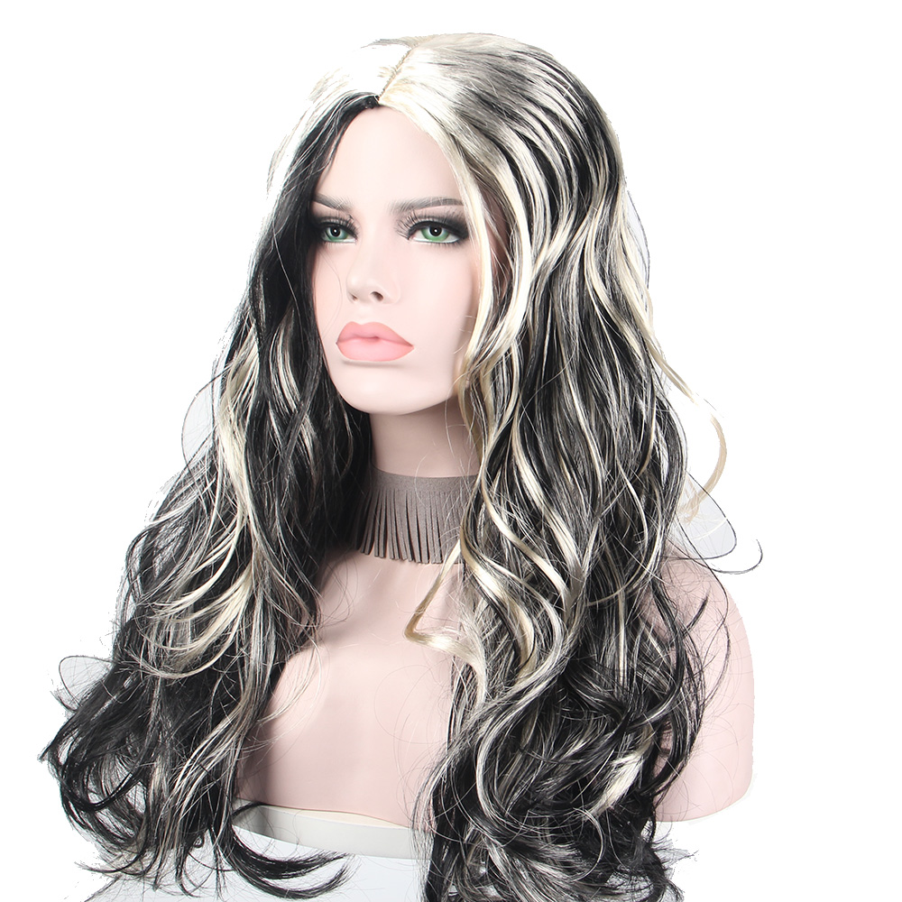 BLACK AND WHITE ANXIN Cosplay Wig Anime Holiday Party Dress up Wavy Hair Costume Cartoon Role Wigs