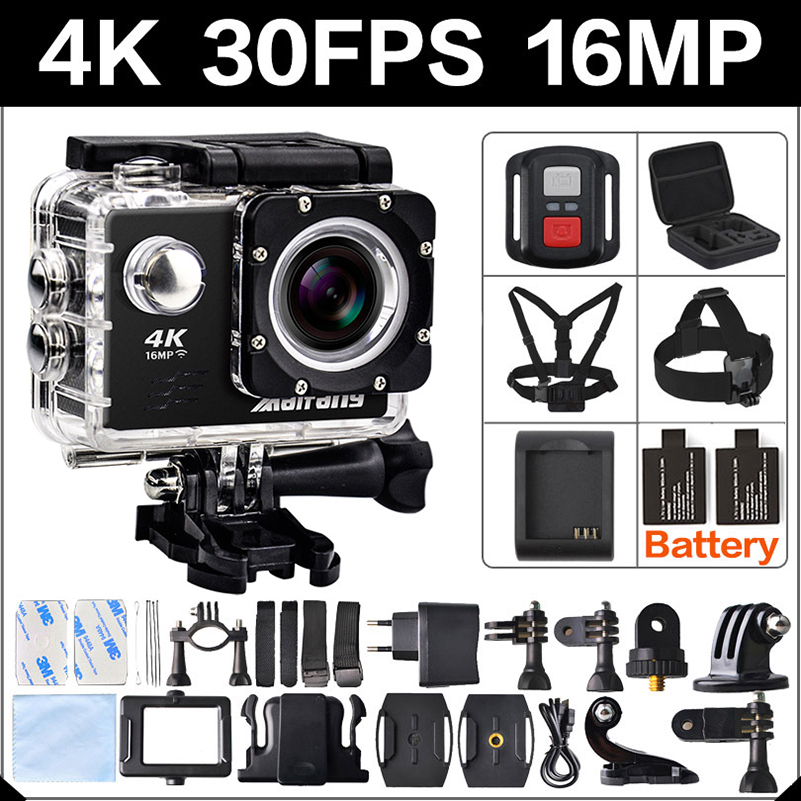 4K 30FPS 16MP WIFI Action Camera 2 Sports HD 1080P 60fps Cam underwater deportiva go waterproof 4 K 170D mini 3 pro sport Cam battery dual charger bag action camera eken h9 h9r 4k ultra hd sports cam 1080p 60fps 4 k 170d pro waterproof go remote camera
