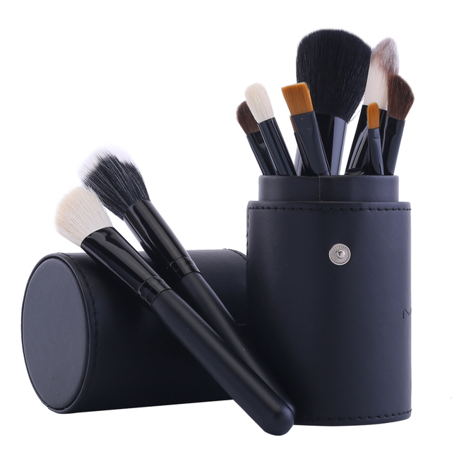 12 pcs Goat Hair Cosmetic Brushes + Makeup Brush Holder Cup Professional Makeup Blusher Foundation Powder Eyeshadow Brush Set