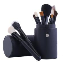 12 pcs Goat Hair Cosmetic Brushes + Makeup Brush Holder Cup Professional Makeup Blusher Foundation Powder Eyeshadow Brush Set